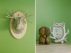 This green nursery has cute woodland accents  #green #nursery #woodlandtheme