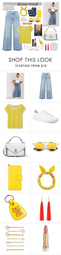 """Senza titolo #7019"" by waikiki24 ❤ liked on Polyvore featuring Forever 21, Étoile Isabel Marant, Rebecca Minkoff, MICHAEL Michael Kors, L'Oréal Paris, Jennifer Behr, denimtrend and widelegjeans"