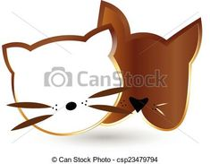 Cat and dog heads silhouettes in gold design vector icon Vector - stock illustration, royalty free illustrations, stock clip art icon, stock clipart icons, logo, line art, EPS picture, pictures, graphic, graphics, drawing, drawings, vector image, artwork, EPS vector art