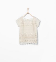 Image 1 of Crochet embroidered T-shirt from Zara