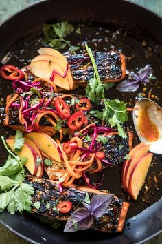 made an Asian summer slaw with purple cabbage, thinly sliced nectarines, and a mix of other v Salmon Recipes, Seafood Recipes, Dinner Recipes, Party Recipes, Lunch Recipes, Dinner Ideas, Honey Ginger Salmon, Clean Eating, Healthy Eating