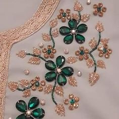 Hand Embroidery/Amazing Flower Embroidery with Beads,Beads Embroidery Work Zardozi Embroidery, Hand Embroidery Dress, Embroidery Neck Designs, Embroidery Suits Design, Bead Embroidery Patterns, Couture Embroidery, Bead Embroidery Jewelry, Embroidery Fashion, Ribbon Embroidery