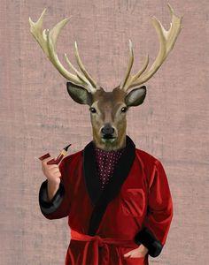 Ciervos+en+chaqueta+8+X+10+Art+Poster+Digital+Arte+por+LoopyLolly,+$20.00