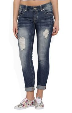 Deb Shops Almost Famous Rolled Skinny Jean with Crochet Back Pockets $26.17