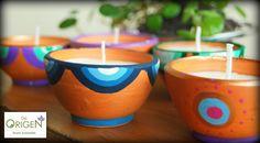 Eco-velas De Origen aromáticas y coloridas. De Origen Colorful aromatic eco-candles.
