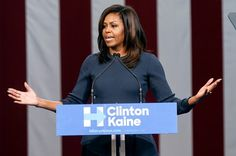 US First Lady Michelle Obama speaks during a campaign rally in support of U.S. Democratic Presidential nominee Hillary Clinton at Southern New Hampshire University in Manchester, NH on Oct. 13, 2016.