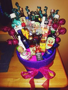 Made this alcohol basket for Lauren's 21st birthday!
