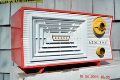 SALMON and White Mid Century Retro Antique 1956 Admiral Model 5C41 Tube AM Radio Totally Restored! by RetroRadioFarm on Etsy