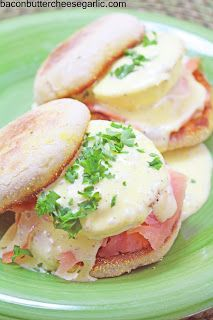 Bacon, Butter, Cheese & Garlic: Salmon Eggs Benedict..who says you can't have breakfast for dinner!