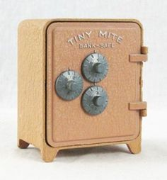 Vintage Metal Tiny Mite Toy Combination Bank Safe Arrow Specialtie