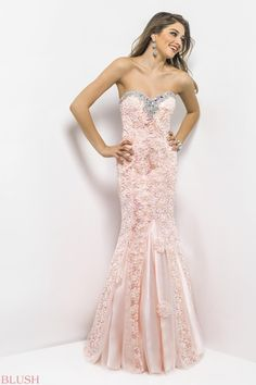 Elegant peach prom dress! Silver jewels define your bust as embroidered flowers drape your silhouette.
