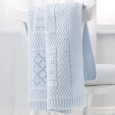 Knitted Patchwork Baby Blanket - Blue   The White Company US