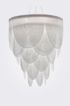 Art deco design inspiration for logo- Ceremony chandelier by Slamp, designed by Bruno Rainaldi Large Pendant Lighting, White Pendant Light, Chandelier Pendant Lights, Art Deco Chandelier, Art Deco Pendant Light, Bubble Chandelier, Chandelier Ideas, White Chandelier, Arte Art Deco