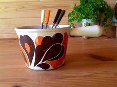 Vintage Enameled Cast Iron Le Creuset Fondue Pot - includes four original forks - Retro Design