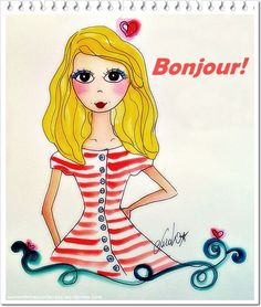 Bonjour!!! Cute illustration by Carol Dib.
