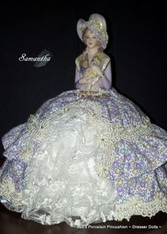 Porcelain Half Doll Pincushion Dresser Doll ~ Completely Hand Crafted and one of a kind!