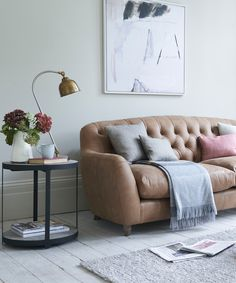 Loaf's button-back Butterbump sofa in Walnut beaten leather