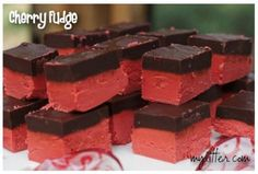 Cherry Fudge Recipe {Fun for Valentines Day} - MyLitter - One Deal At A Time Chocolate Topping, Chocolate Cherry, Chocolate Fudge, Cherry Fudge Recipe, Cherry Recipes, Just Desserts, Delicious Desserts, Yummy Food, Fun Food