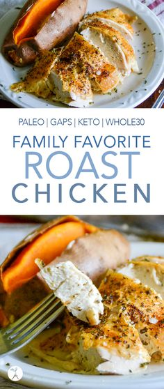 This family favorite roast chicken is a simple go-to for dinner! It's easy to make fit paleo GAPS keto and lifestyles. This family favorite roast chicken is a simple go-to for dinner! It's easy to make fit paleo GAPS keto and lifestyles. Primal Recipes, Low Carb Recipes, Real Food Recipes, Healthy Recipes, Paleo Meals, Healthy Meals, Free Recipes, Turkey Recipes, Lunch Recipes