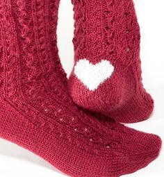 heart socks - I like the red colour too! I wonder if Smart Wool makes socks like this? I Love Heart, Happy Heart, Knitting Projects, Knitting Patterns, Valentine Love, Socks And Heels, Red Socks, Warm Socks, Knitting Socks
