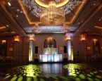 A beautiful real wedding setup at the gorgeous venue The Grove in Cedar Grove, NJ. The colorful monogram on the floor is the perfect enhancement to the simple, elegant ballroom and DJ booth set up. For more information on this venue visit them online www.thegrovenj.com/. #XplosiveEntertainment, #elevatedenhancements, #LEDDJboothsetup, #intelligentlighting, #TheGroveNJ.