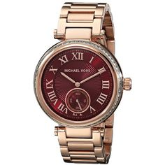 Michael Kors MK6086 - Skylar ($275) ❤ liked on Polyvore featuring jewelry, watches, accessories, fashion watches, rose gold tone, stainless steel jewelry, rose gold tone jewelry, dial watches, roman numeral watches and clear jewelry