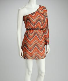 This Orange Zigzag Sheer Asymmetrical Dress by La Class is perfect! #zulilyfinds