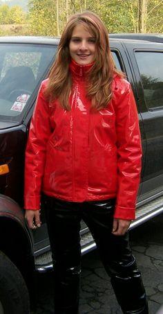Nicole red vinyl jacket and black vinyl pants