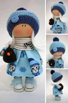Nursery Art Doll Collection Cloth Doll Fabric Muñecas Rag Bambole Doll Textile Handmade Doll Tilda Poupée Doll Winter Blue Doll by Ksenia  Doll can be a great present for your children, family, colleages or friends.  Style of doll easily helps to use such doll as home decoration and interior design.