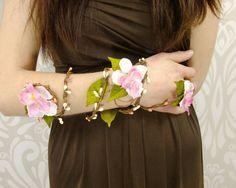 Flower Wrap Cuff, Flower Arm Band, Pink Flower Bridal Cuff by RuthNoreDesigns
