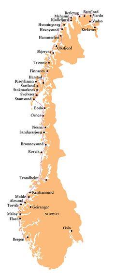 Norwegian Coastal Voyage - Hurtigruten map
