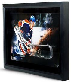 WAYNE GRETZKY Signed Oilers Stick Blade Break Through Photo UDA - Game Day Legends