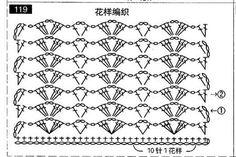 Crochet Scarf Diagram Charts English New Ideas Crochet Scarf Diagram, Crochet Stitches Chart, Gilet Crochet, Crochet Motif Patterns, Crochet Symbols, Stitch Patterns, Knitting Patterns, Knit Crochet, Crochet Doilies