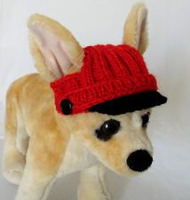Pet Clothes Apparel Winter Outfit Hand -Knit Visor Hat for Small Dog XS Size