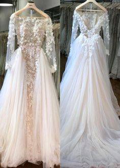 Long Sleeves V Back Sheer Neck Wedding Dress Bridal Gown with Appliques Lace e406a30d731c