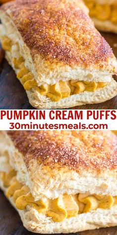 Pumpkin Cream Puffs are an easy dessert that would be perfect to serve for Thanksgiving. #pumpkin #creampuffs #thanksgiving #autumnrecipe #30minutesmeals