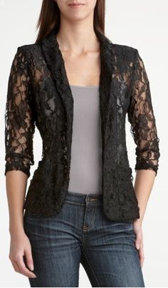 Discover thousands of images about Laced blazer jacket.Just Perfect To Dress Up Jeans, A Simple Top Or A Simple Summer Skirt & Top.I Have A White One, Lined In the Body And Wear It Continually For Dinner Out, etc In Summer.A Super Look! Lace Blazer, Blazer Dress, Dress Up Jeans, Summer Cardigan, Over 50 Womens Fashion, Blouse Designs, Mantel, Fashion Dresses, Women's Fashion