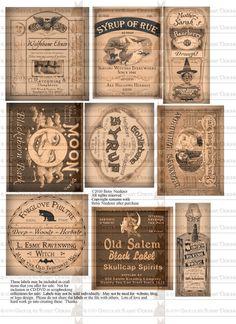 Vintage Halloween Witch Potion Bottle Labels Digital Download