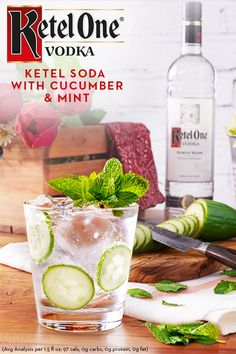 With no added sugar, the Ketel Soda with Cucumber & Mint is the freshest way to celebrate spring. To make this fresh cocktail, mix 1.5 oz. Ketel One Vodka with 3 oz club soda. Garnish with cucumber ribbon or slices, and top with a sprig of mint.