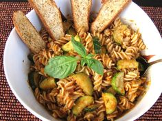 Spiral Pasta With Red Pepper Sauce