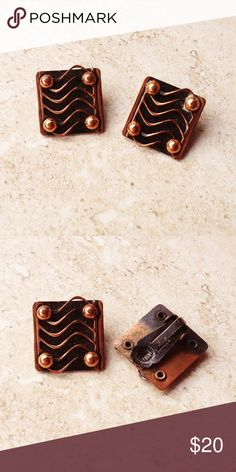 "Vintage 50's Copper Modernist Earrings Vintage 50's, copper modernist earrings.  Rustic blackened & polished copper wave design.  3/4"" square, clip-on style.  Exact age and maker unknown.  Some slight age appropriate wear but in excellent condition! Vintage Jewelry Earrings"