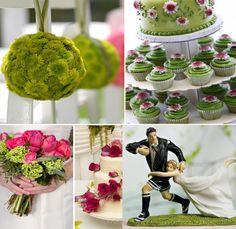 Mariage thème rugby décoration - couleurs vert, blanc et rose (ne pas tenir compte des figurines trop kitsch)