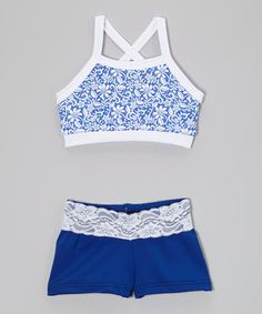 Look what I found on #zulily! Blue & White Lace Sports Bra & Blue Shorts - Girls by Elliewear #zulilyfinds
