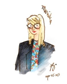 a sketch of Monika, photographed by my sister Lian on Toronto Streetfashion blogspot.ca