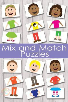 Mix and Match Puzzles {Free Kids Printable} 6 adorable characters and 216 different combinations to make them with these mix and match puzzles! Mix and match puzzles will keep the kids busy for quite a while and they are super fun! Toddler Learning, Preschool Learning, Kindergarten Activities, Preschool Activities, Teaching, Preschool Family Theme, All About Me Preschool Theme, Body Preschool, Painting Activities