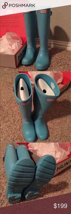 Hunter sky blue unique! NWT boots 37 (fits 6-7.5) HUNTER brand rain boots, new with all tags and box, sky blue color, size 37 {fits 6-7.5} Hunter Boots Shoes Winter & Rain Boots