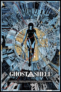 Screen printed poster for the anime Ghost in the Shell by Kilian Eng.