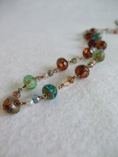 Multi Colour Necklace with Czech Glass Beads