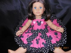 AmericanGirl, Dress, Minnie Mouse, Disney, Hot Pink trimmed in Black and White polka Dots.  Fits Bitty Baby Too...