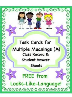 Free! Task Card Class Record and Student Answer Sheets to make your life easier! Looks-Like-Language!
